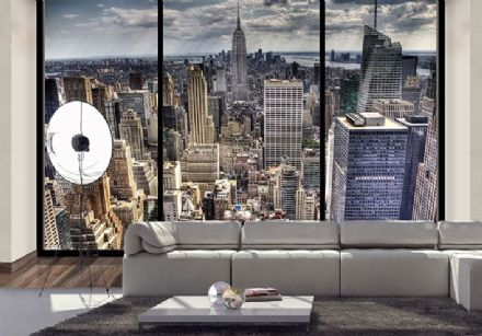 New York skyline wallpaper murals - penthouse